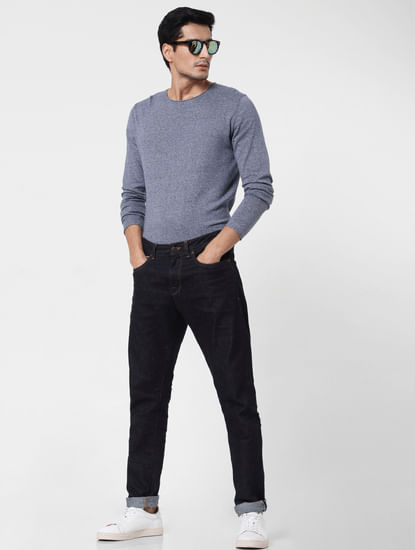 Dark Blue Toby Tapered Fit Jeans