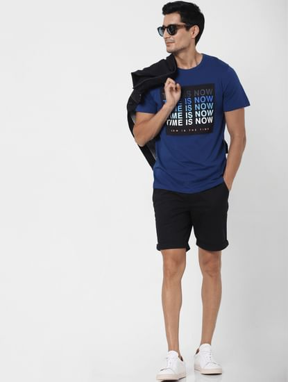 Blue Slogan Print Crew Neck T-shirt