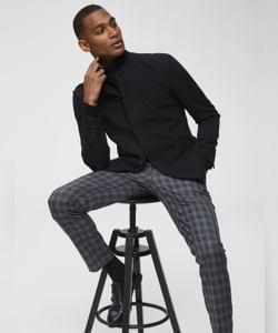 Grey Checks Slim Fit Formal Trousers
