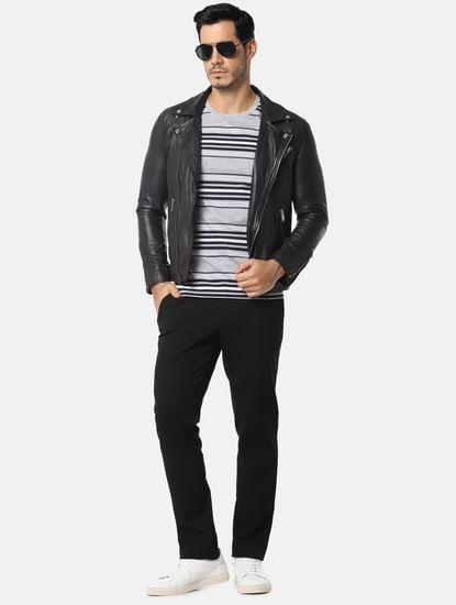Dark Grey Striped Slim Fit Crew Neck T-Shirt