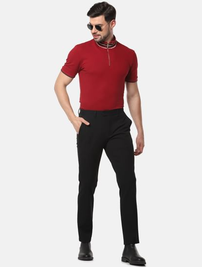 Red Slim Fit High Neck T-Shirt