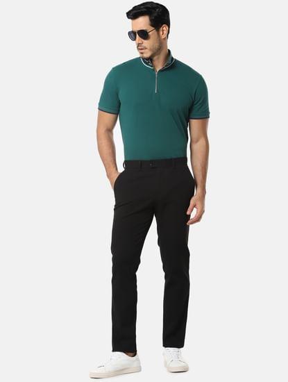 Green Zip Detail High Neck T-Shirt
