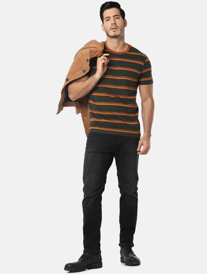 Olive Green Striped Crew Neck T-Shirt