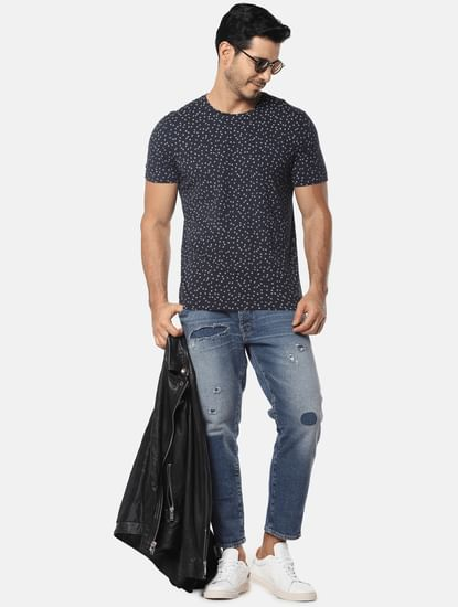 Navy Blue All Over Print Crew Neck T-Shirt