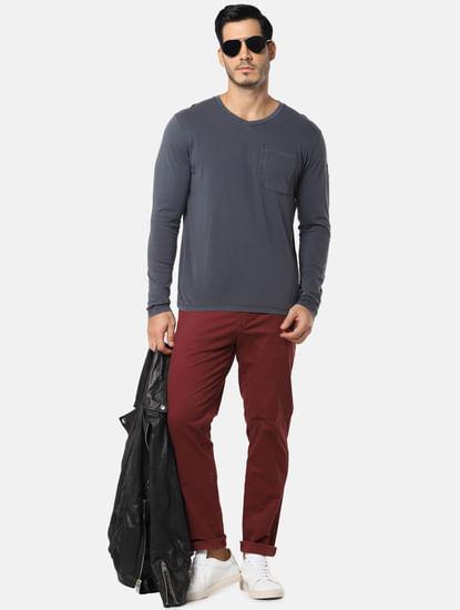 Grey One Pocket Slim Fit V-Neck T-Shirt