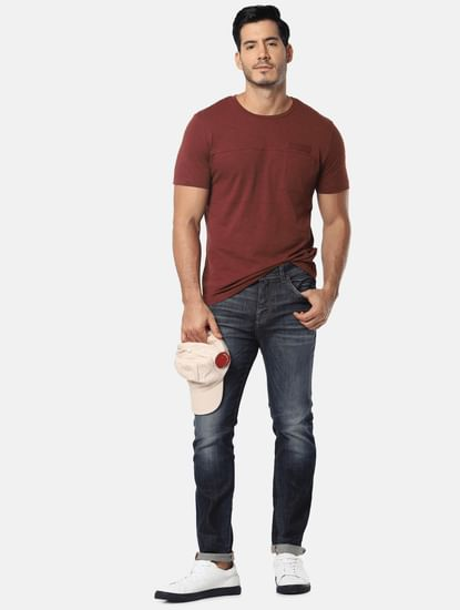 Brown One Pocket Slim Fit Crew Neck T-Shirt