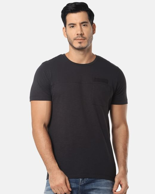 Black One Pocket Slim Fit Crew Neck T-Shirt