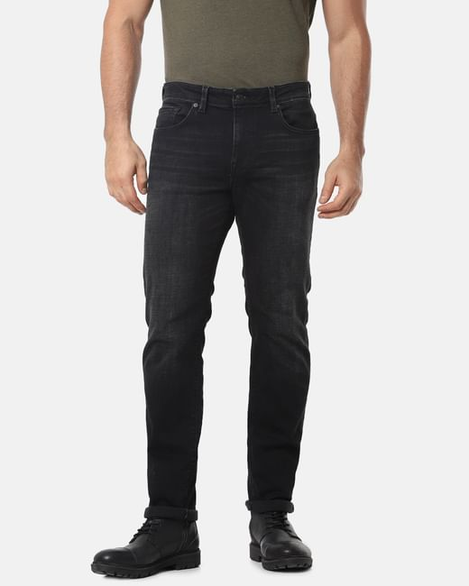 Black Mid Rise Scott Straight Fit Jeans