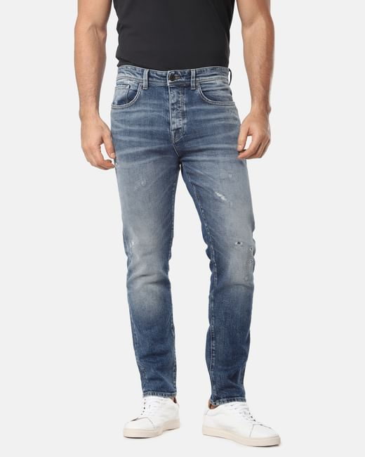 Blue Distressed Nick Tapered Fit Jeans