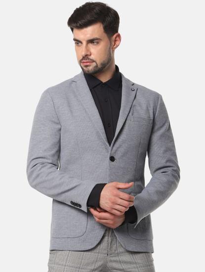 Grey Slim Fit Formal Blazer