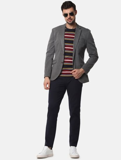 Dark Grey Slim Fit Formal Blazer