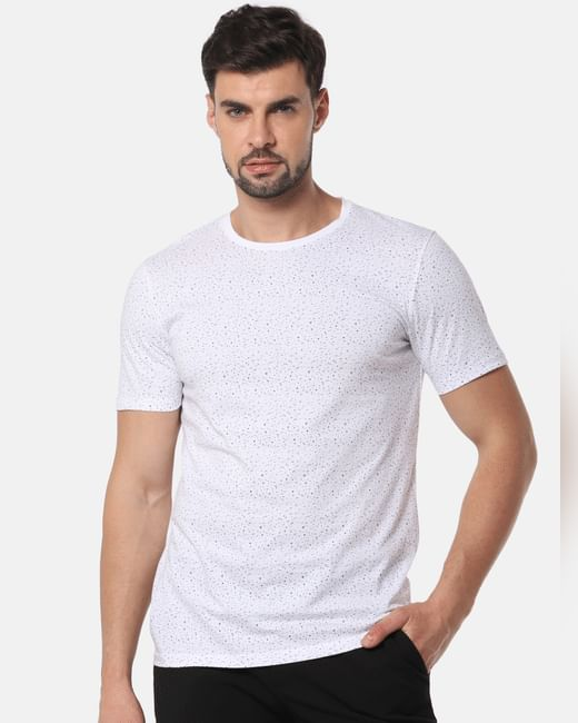 White All Over Print Slim Fit Crew Neck T-Shirt