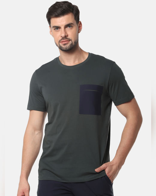 Olive Green Colourblocked Crew Neck T-Shirt