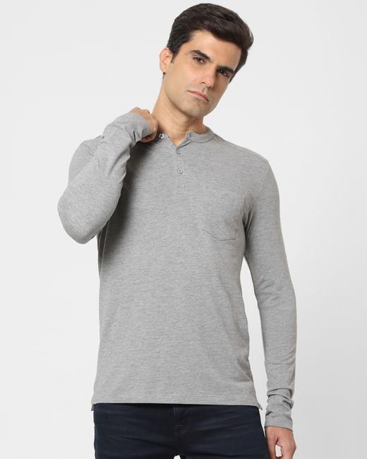 Light Grey Henley Neck Full Sleeves T-shirt