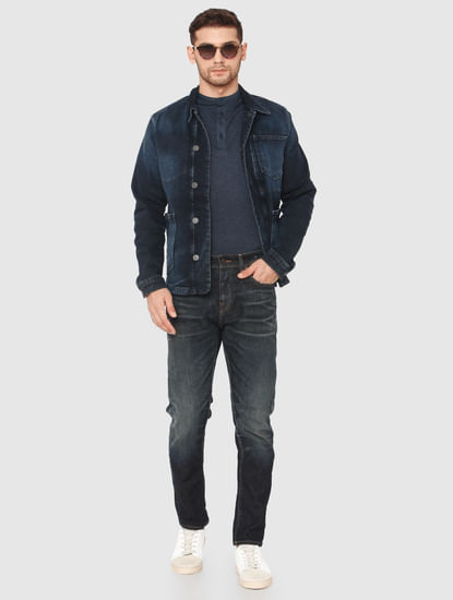 Blue Mid Rise Toby Tapered Fit Jeans
