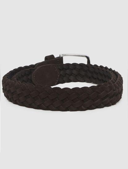 Brown Suede Braided Belt