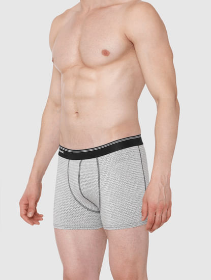Light Grey Printed Trunks
