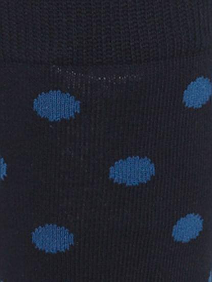 Navy Blue Polka Dot Print Mid Calf Length Socks