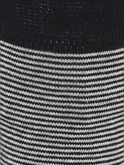 Black Striped Mid Calf Length Socks