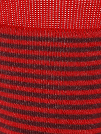 Red Striped Mid Calf Length Socks