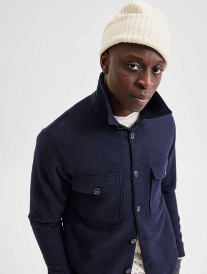Blue Woolen Solid Jacket