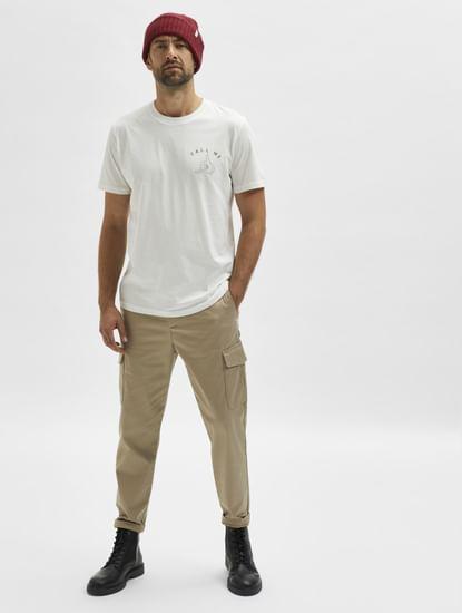 Beige Mid Rise Cargo Pants