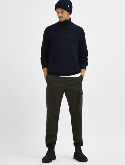 Green Slim Fit Cotton Pants