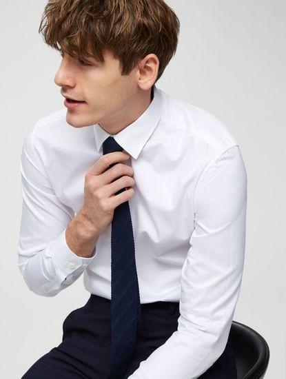 White Slim Fit Full Sleeves Formal Shirt