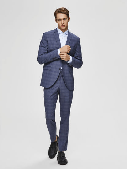 Blue Mid Rise Check Slim Fit Trousers