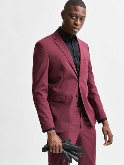 Maroon Slim Fit Suit Blazer