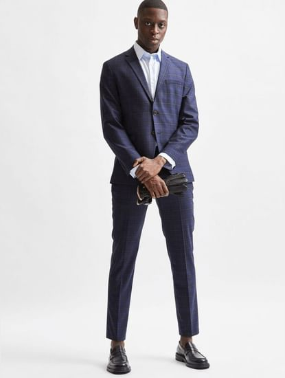 Blue Check Formal Suit Trousers