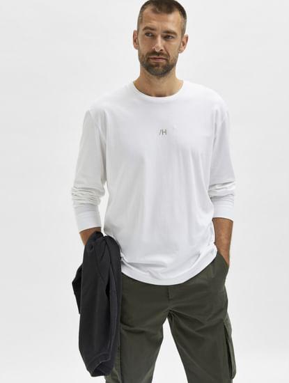 White Full Sleeves Crew Neck T-shirt