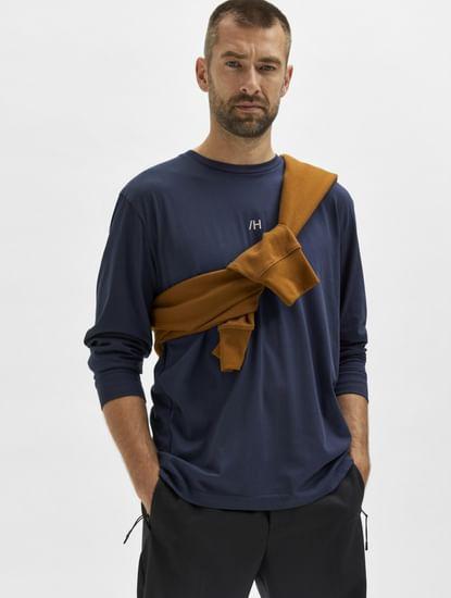 Blue Full Sleeves Crew Neck T-shirt