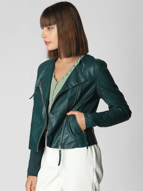 Teal Blue Faux Leather Short Jacket