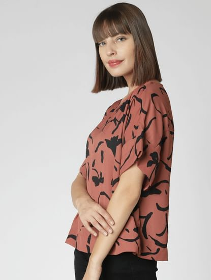 Brown Printed Drop Shoulder Top