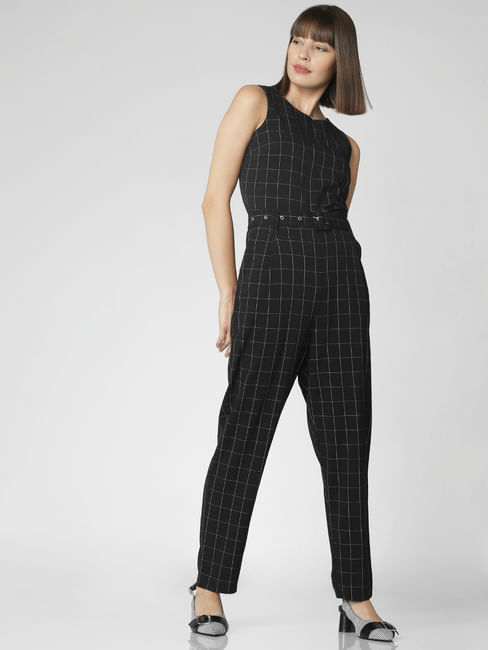 Black Check Jumpsuit