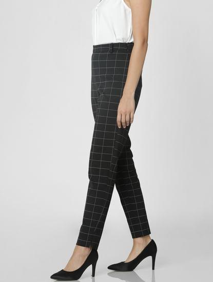 Black Mid Rise Check Pants