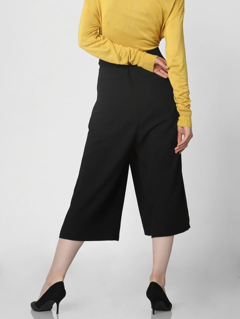 Black Mid Rise Belted Culottes