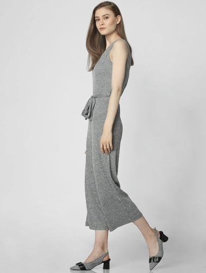 Grey Belted Cropped Jumpsuit