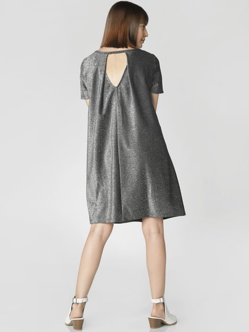 Silver Shimmer Shift Dress