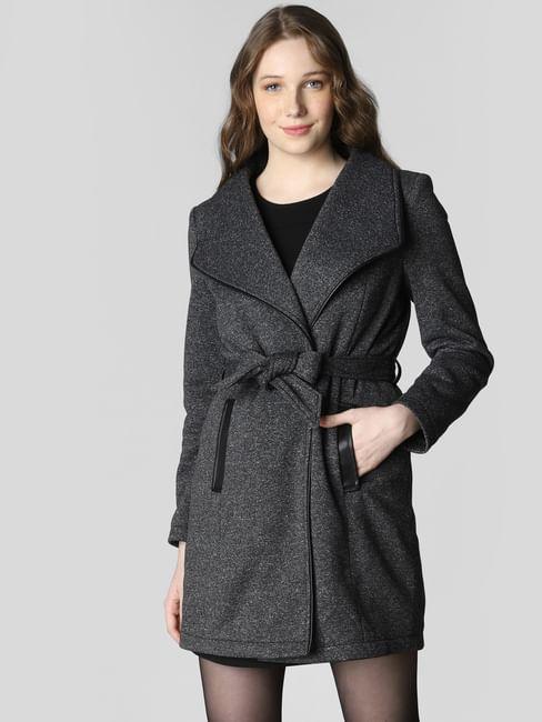 Dark Grey Belted Overcoat