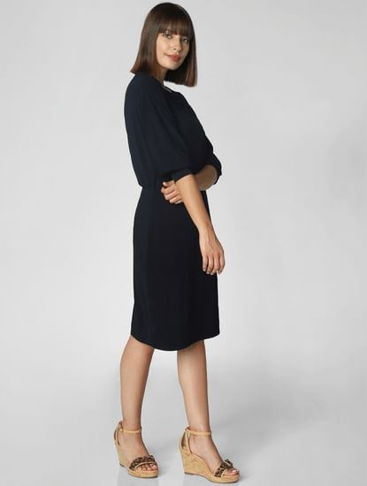 Dark Blue Boatneck Sheath Dress