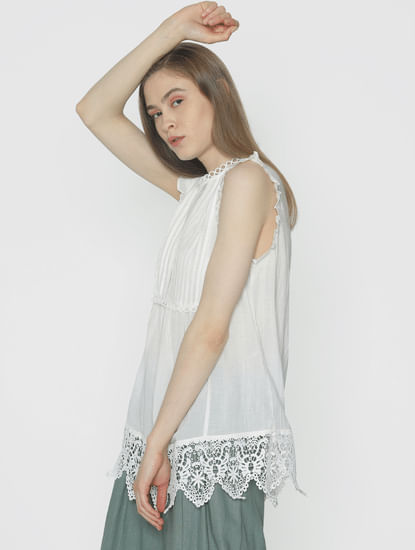 White Lace Cut Work Top