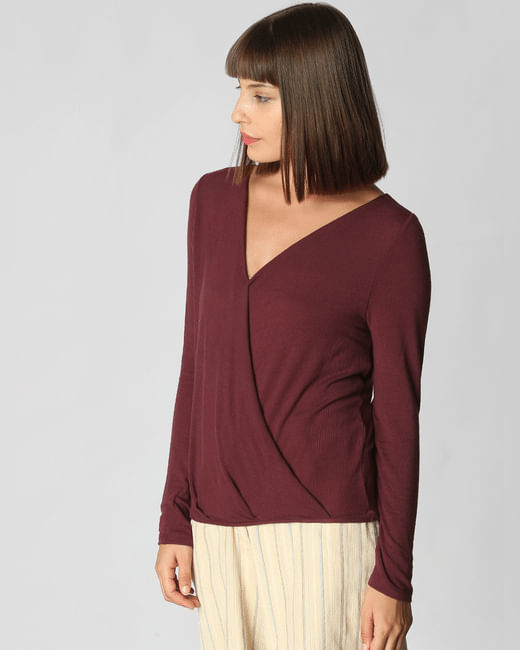 Maroon Lace Wrap Top