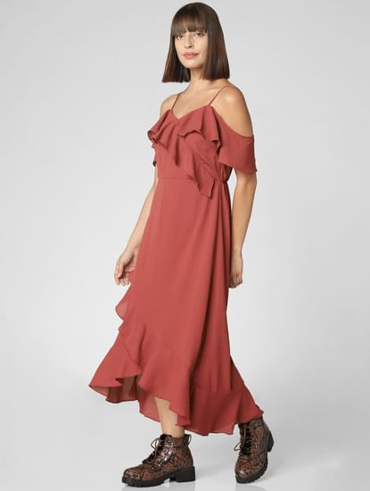 Rust Ruffle Detail Maxi Dress