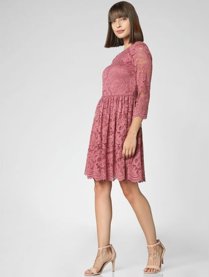 Dark Pink Lace Fit & Flare Dress