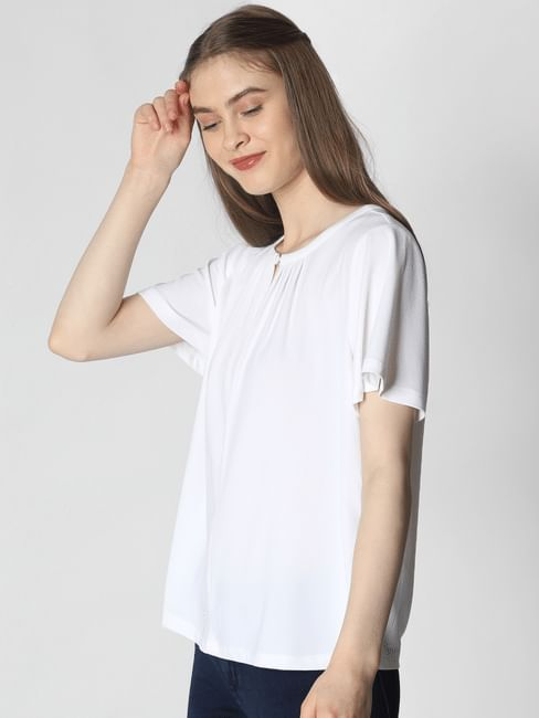 White Key Hole Button Top