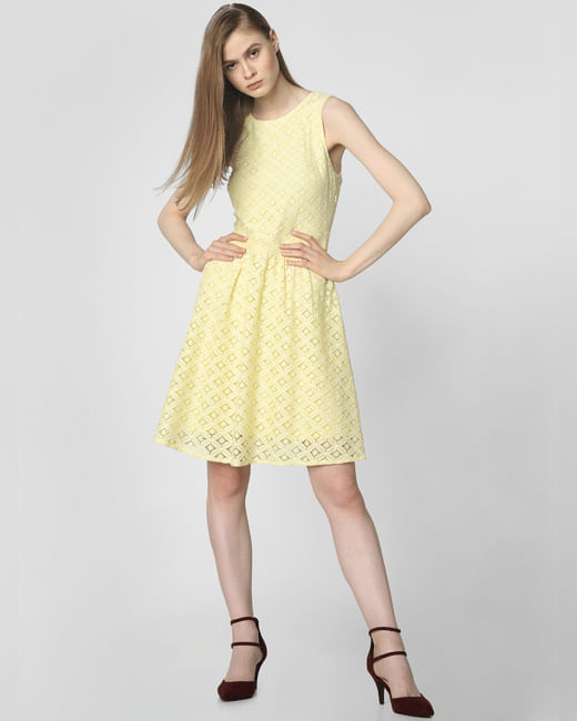 Yellow Lace Skater Dress