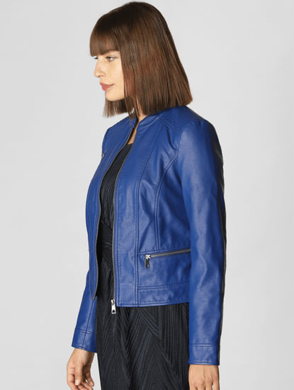 Blue Casual Pu Jacket