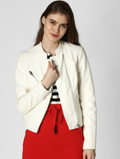 White Pu Casual Jacket